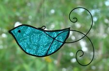 TURQUOISE AQUA BIRD with HAND SCROLLED WIRE WINGS Stained Glass SUNCATCHER GIFTS