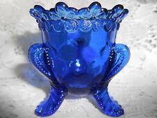 Cobalt Blue Vaseline glass toothpick holder uranium flower vermont rose / daisy