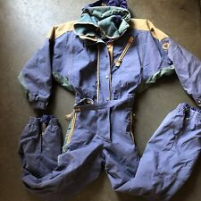 Women's Vintage 80s 90s DEGRE 7 Full Ski Suit One Piece Snow Bib Snowsuit Sz 8 M