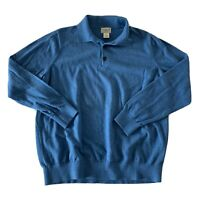 L.L. Bean Rugby Long Sleeve Shirt Men's L Reg Cotton Cashmere Blend Blue