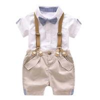 New Kids Baby Boy Summer Gentleman Bowtie Short Sleeve Shirt+Suspenders Pant Set