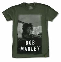 Bob Marley In Car Olive Green T Shirt New Official Adult Reggae Band Rasta