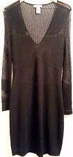 CATHERINE MALANDRINO Black Rayon/Nylon Long Sleeve V-Neck Pointelle Dress SIZE L