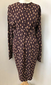 DROOPY & BROWNS Vintage Burgundy Red Batwing Sleeve Tulip Skirt Belted Dress 12