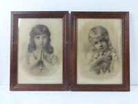 Franz Dvorak Vintage Art Prints Pair Framed Faith Love Children 1885 Sepia Tone