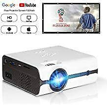 """New listing bundle Hd 1080P Video Projector with Portable Screen 100"""" for Indoor Outdoor Use"""