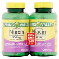 NIB Spring Valley twin Niacin flush free 500 mg metabolism support 240 caps 6/22