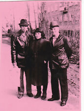 1980s Men in leather jackets w/ woman outdoor hand tinted Russian Soviet photo