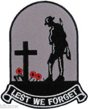 """Lest We Forget Embroidered Patch 6cm x 7.5cm (2 1/4"""" x 3"""") Sew On / Iron On"""