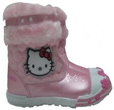 Girls Hello Kitty Fur Trim Winter Snow Boots Shoe Sizes 5-10