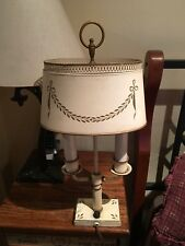 Vintage Antique Lamp 2 Arm Off White and Bronze Table Lamp