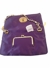 NWT COACH Satin Purple Evening Foldover Clutch W/Beaded Brass Strap