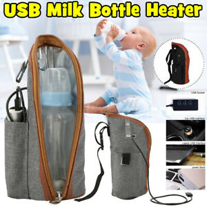 Portable USB Baby Bottle Warmer Heater Insulated Bag Travel Cup Mil