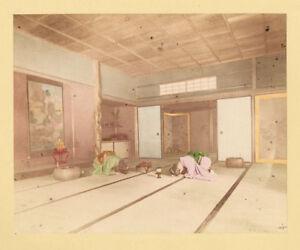 Giappone Ricevendo un'ospite Foto originale colorata a mano Tamamura 1890 XL353