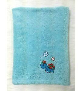 Northpoint Baby Blanket Blue Turtle Soccer Baseball Balls Fleece Soft Boy B60