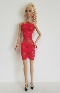 Poppy Parker Doll Clothes Sexy Red Lace DRESS & JEWELRY HM Fashion NO DOLL d4e