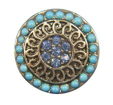 Noosa Style Chunks Ginger Snap On Jewellery Button Charms Beaded Blue 18mm