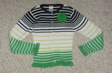 Black, White, Green & Yellow Striped Gymboree Cardigan, Prep Club, Size 7, VGUC