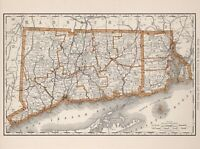 Vintage Old Antique decorative Connecticut Rhode Island Map Rand  paper / canvas