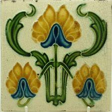 Art Nouveau Embossed Majolica Tile C1905 Corn Bros #3