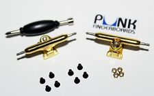 Pro Shaped Fingerboard Trucks -GOLD- 32mm, Single Axle/Lock Nuts FREE GRIP! USA