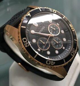 Mens Genuine Bulova Sports Chronograph 98A192 Designer Watch Rose Gold Black
