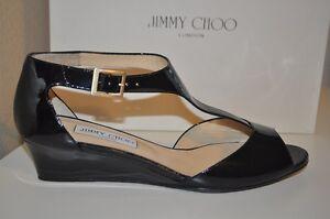 $550 Jimmy Choo TREAT Black Patent Leather T Strap Low Wedge Sandal Shoe 40.5-10