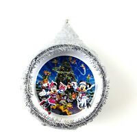 Disney Parks Silver Glitter Mickey Mouse and Friends Holiday Ornament
