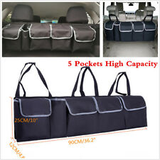 Black High Capacity 5 Pockets Car Seat Back Organizers Bag Interior Accessories