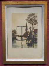 belle eau forte ancienne colorée Pont de Huis fin 19° signé