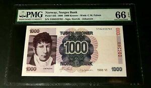 NORWAY 1000 kroner 1998 Pick# 45b PMG 66 EPQ Gem UNC!