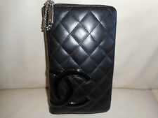 AUTHENTIC CHANEL CAMBON CC BLACK LEATHER ZIPPY WALLET CLUTCH