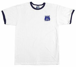 Leeds United 1950s Retro Football T Shirt Embroidered Crest S-XXL