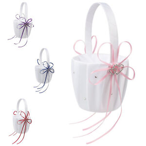 Double Heart Wedding Flower Girl Basket White Satin Rhinestone Decor Purple ni
