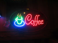 New  Coffee house Motion BRIGHT LED sign neon wall window lamp light java mug