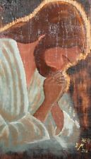 RELIGIOUS PORTRAIT OIL PAINTING PRAYING JESUS CHRIST ICON SIGNED