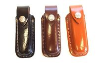 "Leather Folding Knife Belt Sheath Pouch Swiss Style up to 4 5/8"" closed"