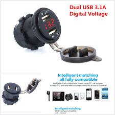 12V Motorcycle 3.1A Dual USB Charger Socket & Digital Voltage Voltmeter Red LED