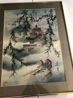 "Ning Yeh Original Watercolor Landscape Signed & Framed, 16"" x 22"" (Image)"