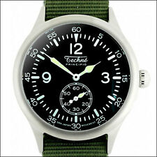 Techne 39.5mm Merlin Quartz Aviator Watch with Black Dial, Nylon Strap #246.022