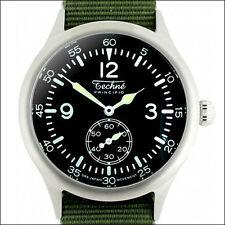 Techne 39.5mm Merlin Quartz Aviator Watch with Black Dial, Nylon Strap #246.022
