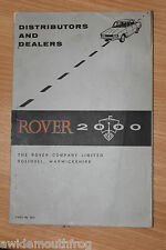 Rover 2000 Distributors & dealers Booklet UK & Worldwide Feb 1967 Part no. 4633