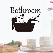 Bathroom Wall Sticker Removable Art Vinyl Mural Room Toilet Door Vinyl Decal WL