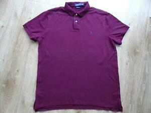 RALPH LAUREN POLO mens dark red polo t shirt top SIZE XL CUSTOM SLIM FIT
