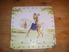 Vintage Square Basket Bottom Liner Lady and Horse and Dog Design