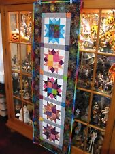 Handmade Quilted Stars and Metallic Fireworks Table Runner