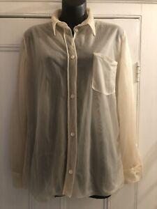 "Vintage Helmut Lang Cream Silk Organza Mens Shirt 42""chest"