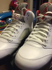 New Nike Air Jordan 5 V Retro Fire Red 3M White Black 2013 SZ 12 136027-100