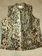 Jordan Leopard Vest Size Medium, Zipper Up, Velour EUC