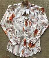 Vtg Men's H Bar C Floral western Long Tail Pearl snap Rockabilly shirt 1970's